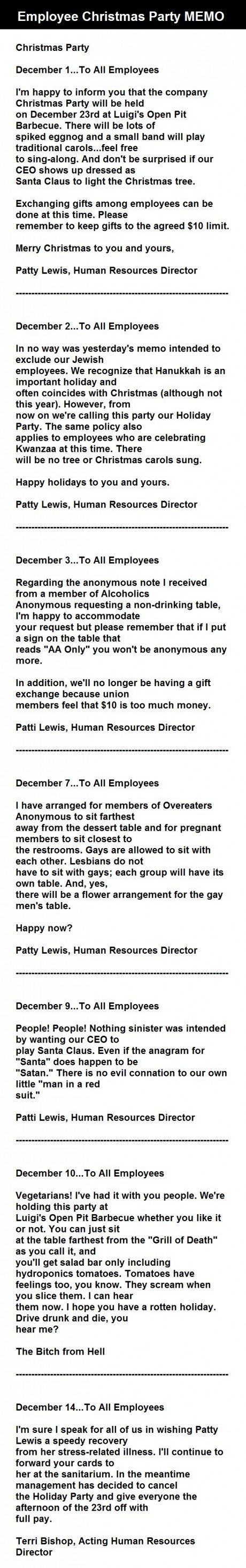 Enjoy Reading This Employee Christmas Party Memo As It Carries Some