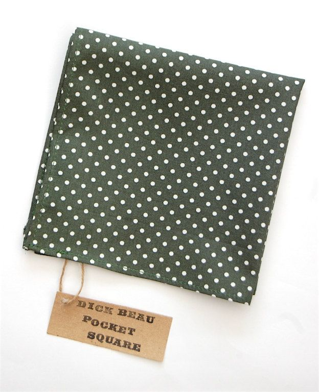 009a3e0282baa Mens pocket square / Olive Green Polka Dot / Pocket Square / mens  handkerchief by DickBeau on Etsy