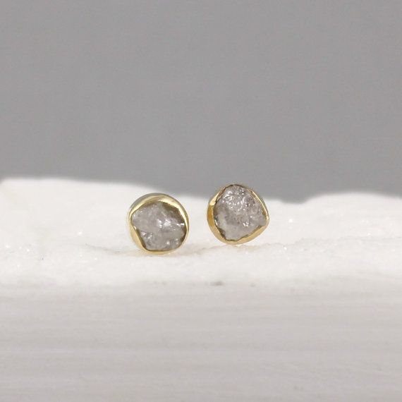 Raw Diamond Earrings 18k Gold Conflict Free Diamonds Made In Canada April