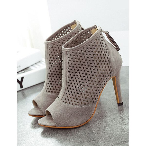 Grey High Heel Hollow Peep Toe Pumps (€40) ❤ liked on Polyvore featuring shoes, pumps, heels, chaussures, sapatos, platform flats, peep-toe flats, peep toe platform pumps, peep toe flats and grey platform pumps
