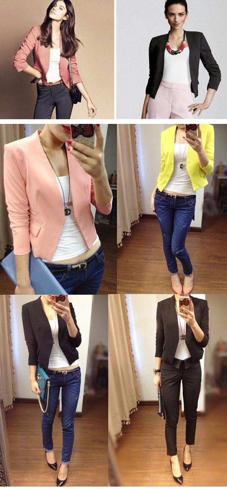2.015 novo prichádzajúci ženy sako móda Outwear farebný kabát tri štvrtiny žien bunda ležérne žlté sako ženský JT48 (5)