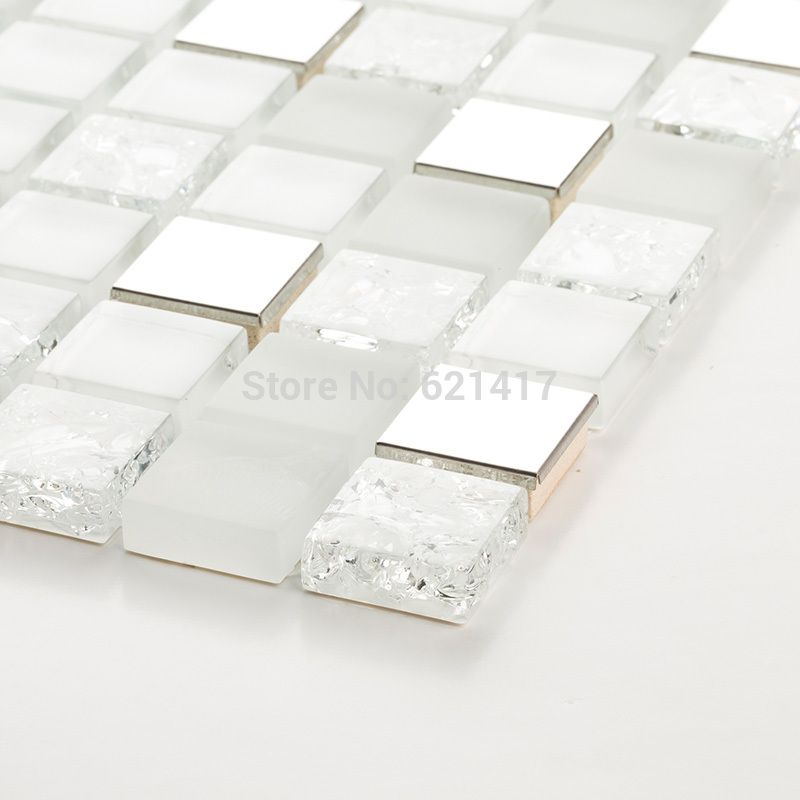 Square White And Clear Ice Crackle Glass Mixed Stainless Steel