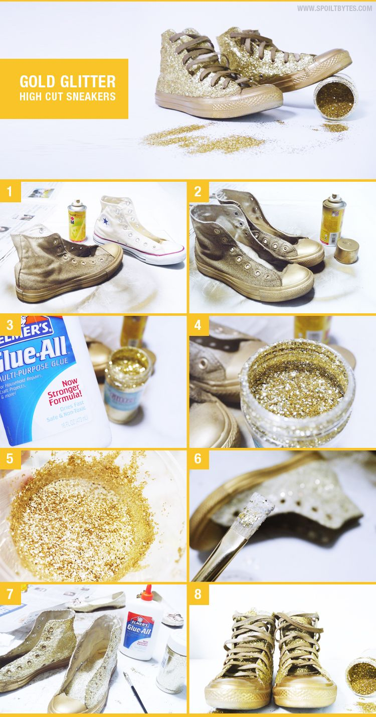 Diy gold glitter high cut sneakers do it yourself pinterest diy gold glitter high cut sneakers solutioingenieria Choice Image