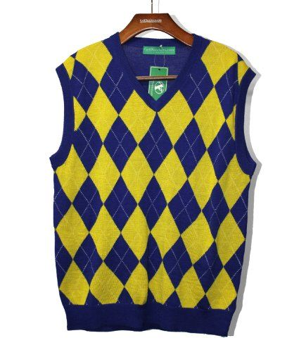 Argyle Sweater Vest - Mens Royal/Yellow - 2XL Golf Knickers ...