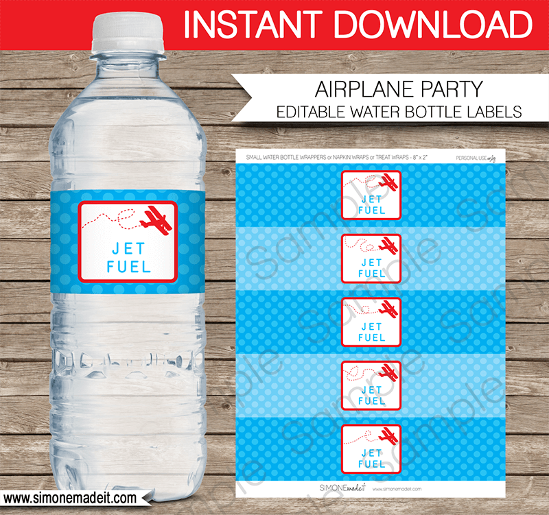 Airplane Birthday Party Water Bottle Labels Template  Biplane