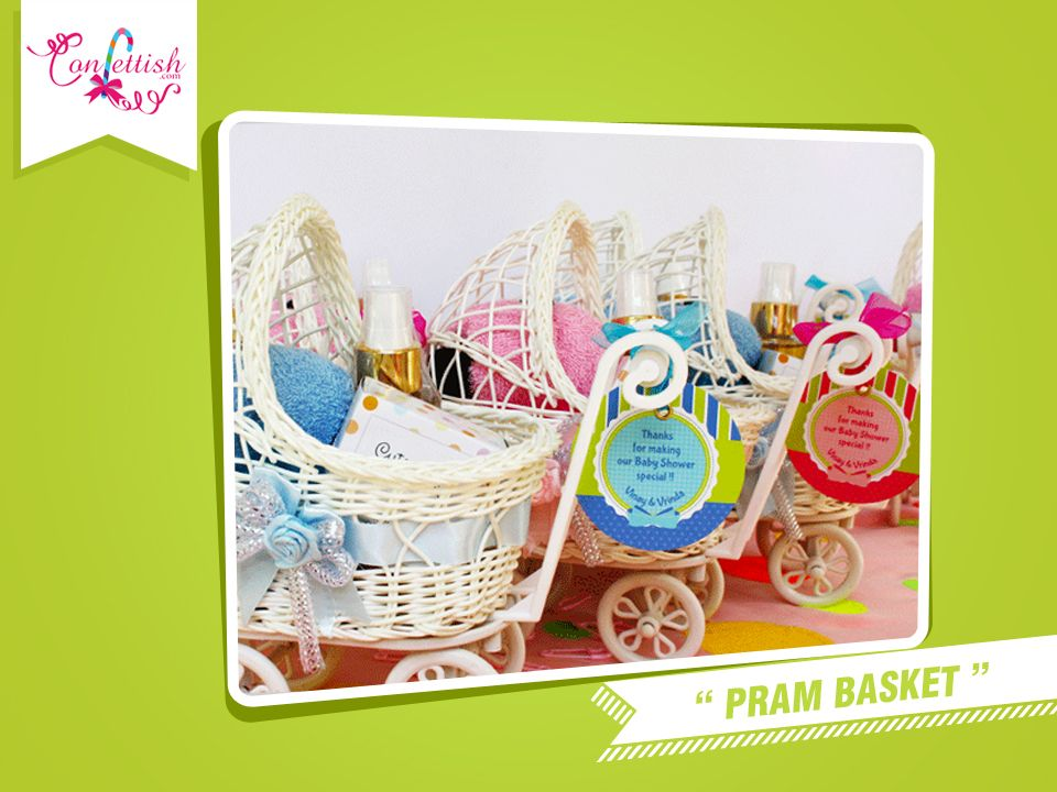 What a cute idea to give these perfect pram baskets for baby shower favors, gifts.