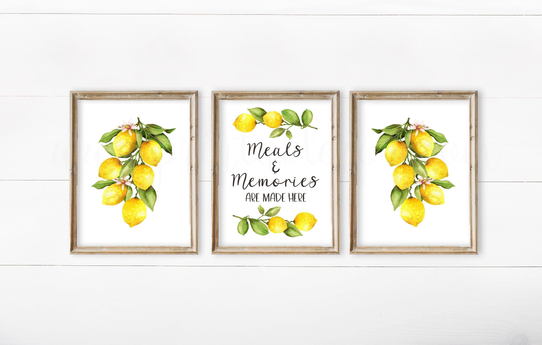 Lemon Decor Set Of 3 Farmhouse Kitchen Wall Etsy