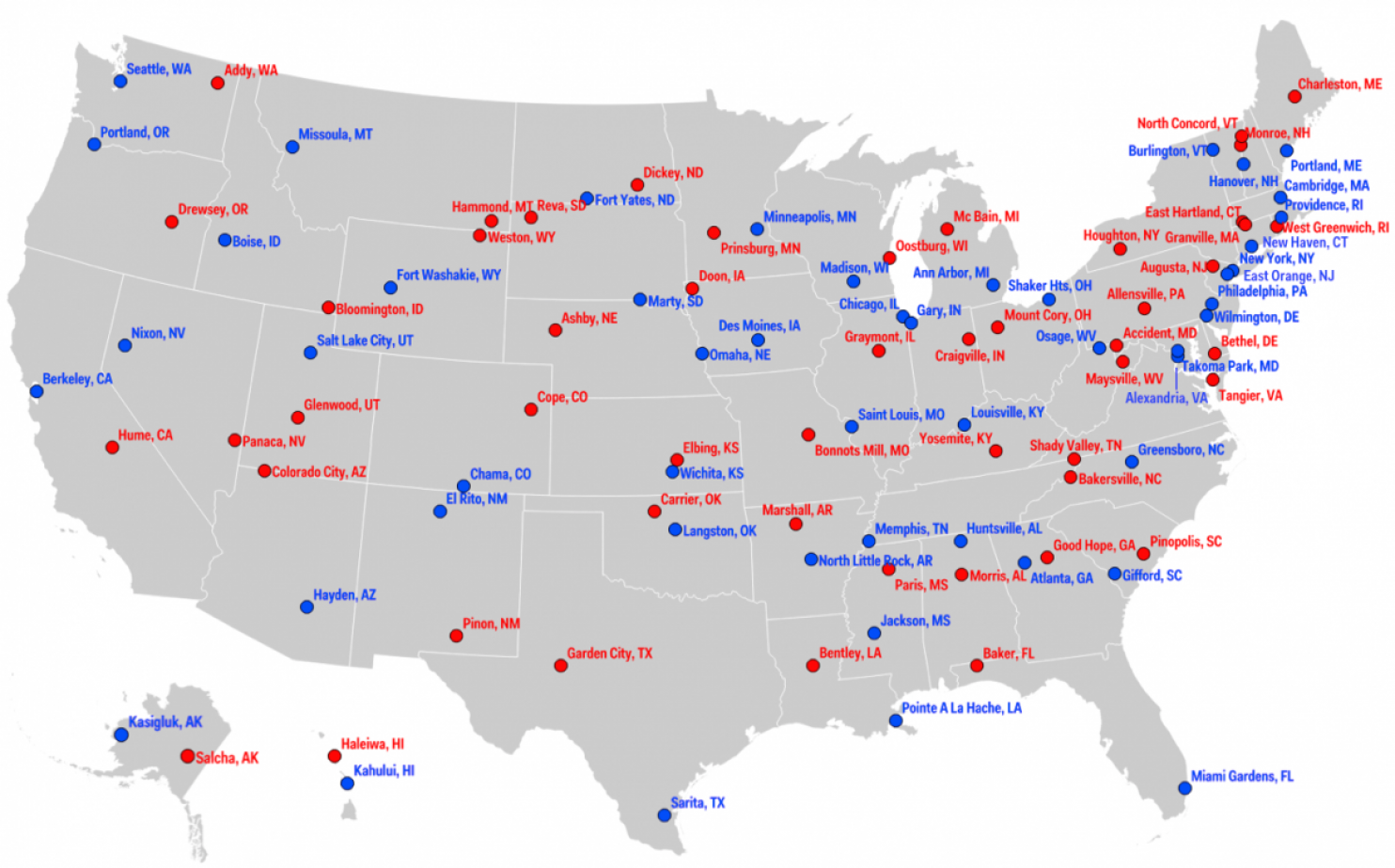 Map The most liberal and conservative towns in each state