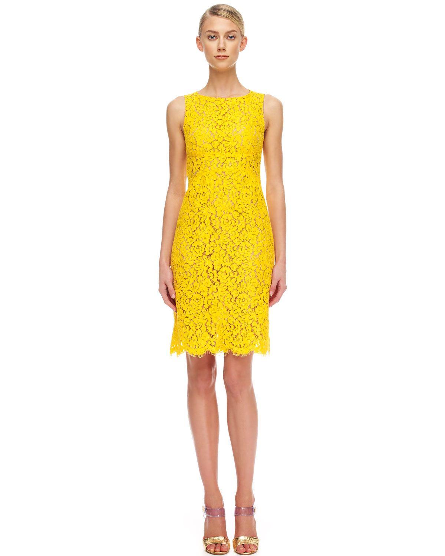 322257392a Michael Kors Floral Lace Empire Shift Dress - Bergdorf Goodman ...