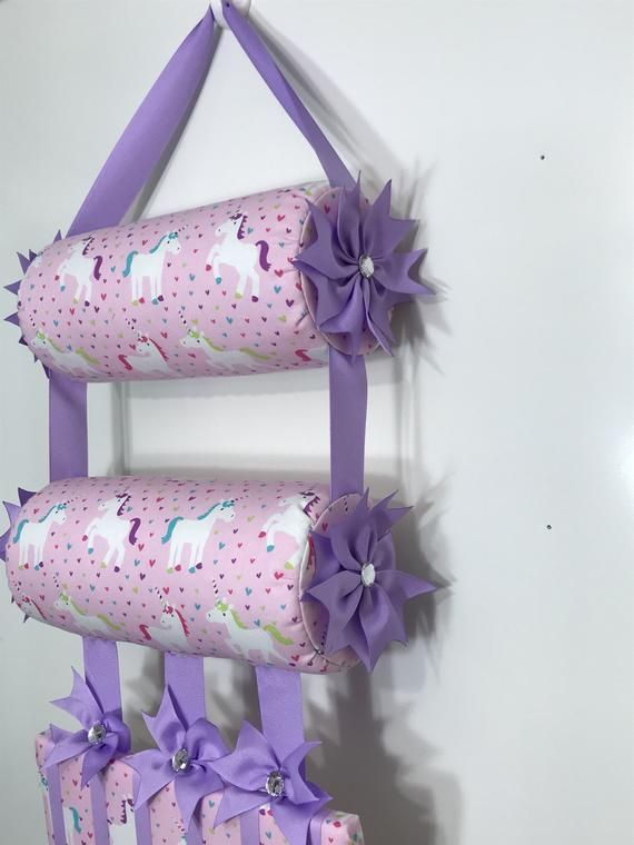 Headband Holder or head band holder hairbow organizer board Pink Unicorns Handmade combination holder