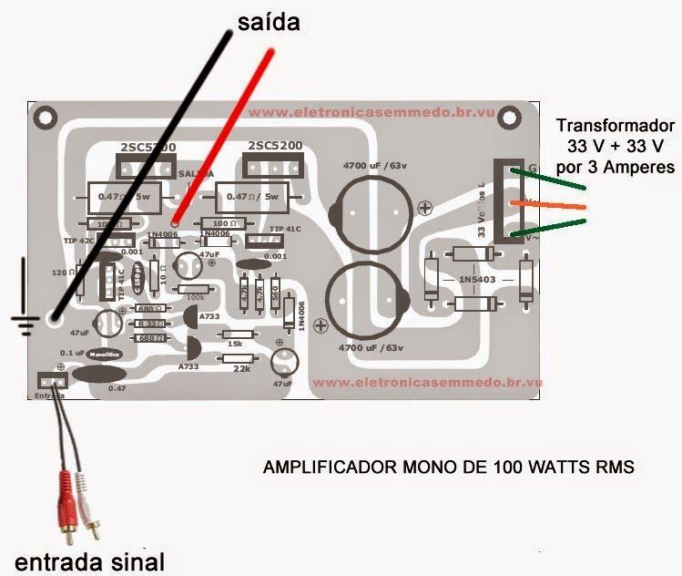 Modulo de um excelente amplificador de 100 W RMS, ideal para ser ...