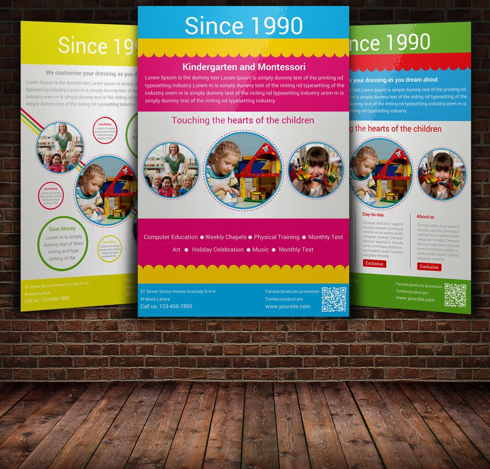 Kindergarten Flyer With  Layouts  Layouts Adobe And Fonts
