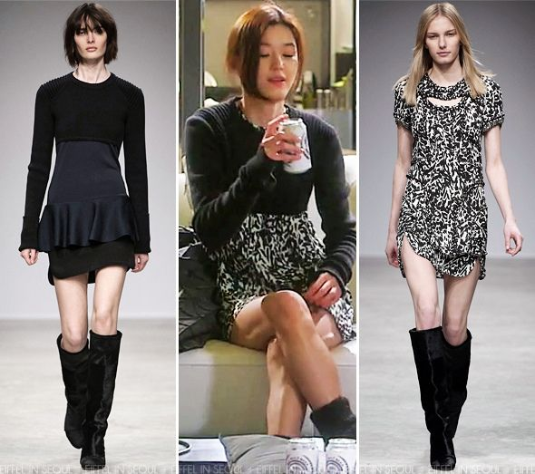 In the episode, Gianna Jeon Ji Hyun (전지현) wore the 'Brad' sweater with the printed 'Quilame' dress from Isabel Marant Fall/Winer 2013 collection.