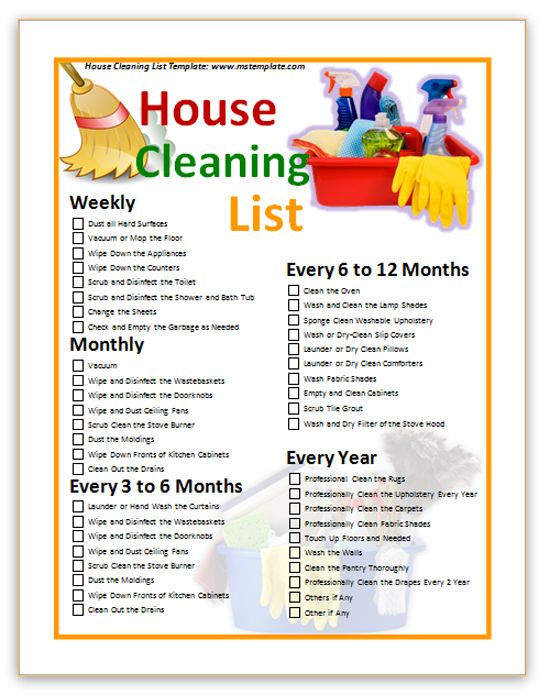 House Cleaning Checklist Templates House Cleaning List Template