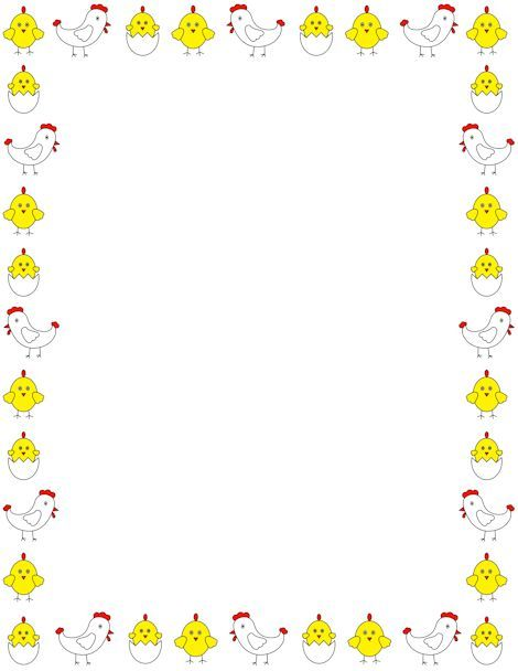 Printable chicken border Free GIF, JPG, PDF, and PNG downloads at - free paper templates with borders