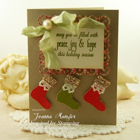 Inspired by Stamping, Joanna Munster, Christmas Cheer stamp set, Christmas Greetings stamp set, Christmas card, stocking card