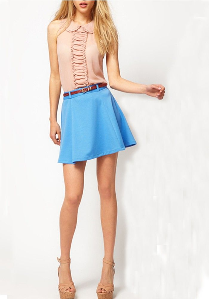 sky blue pleated belt above knee polyester skirt my 60s