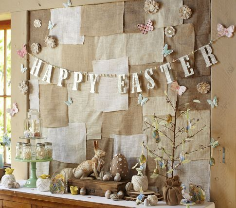 "Pottery Barn glitter Easter garland. Like the butterflies, mason jars, large ""chocolate"" egg, and fabric flowers"