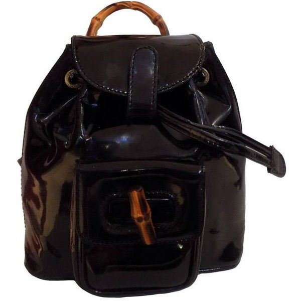 32c0a0bcba Preowned Gucci Bamboo Black Varnish Leather Small Backpack ( 1