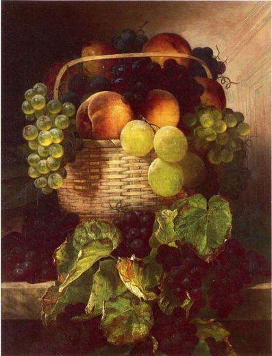 guillermo albañil marrón naturaleza muerta con uvas.  ciruelas y melocotones en una pintura de la cesta