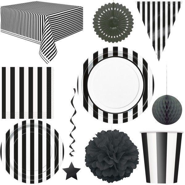 Schwarze Streifen Party Weiss Deko Einweg Geschirr Geburtstag