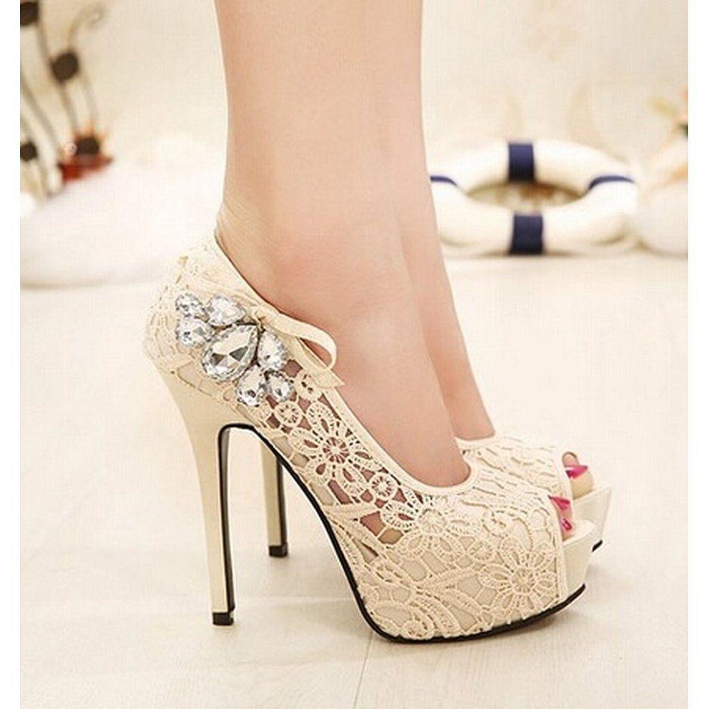 Wedding shoes for lace dress  Womens Lace Pink Fish Head Pumps Wedding Shoes  Bridal NeedsSophie