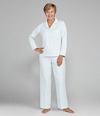 Miss Elaine Petite Jacquard Brushed Back Satin Pajamas from Dillards