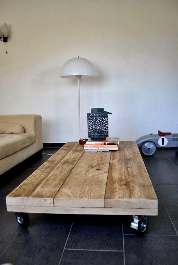 Ein Couchtisch Aus Holz Fügt Wärme Und Natürlichkeit Im Wohnzimmer ... Industrial Chic Wohnzimmer