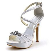 Elegantpark Ivory Women's Open Toe Satin Cross Strap Ankle Buckles Platform  Rhinstones Bridal Wedding Sandals US 7