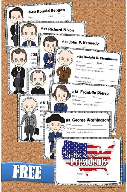 FREE Presidents of the United States Book for Kids | 123 Homeschool 4 Me #presidents