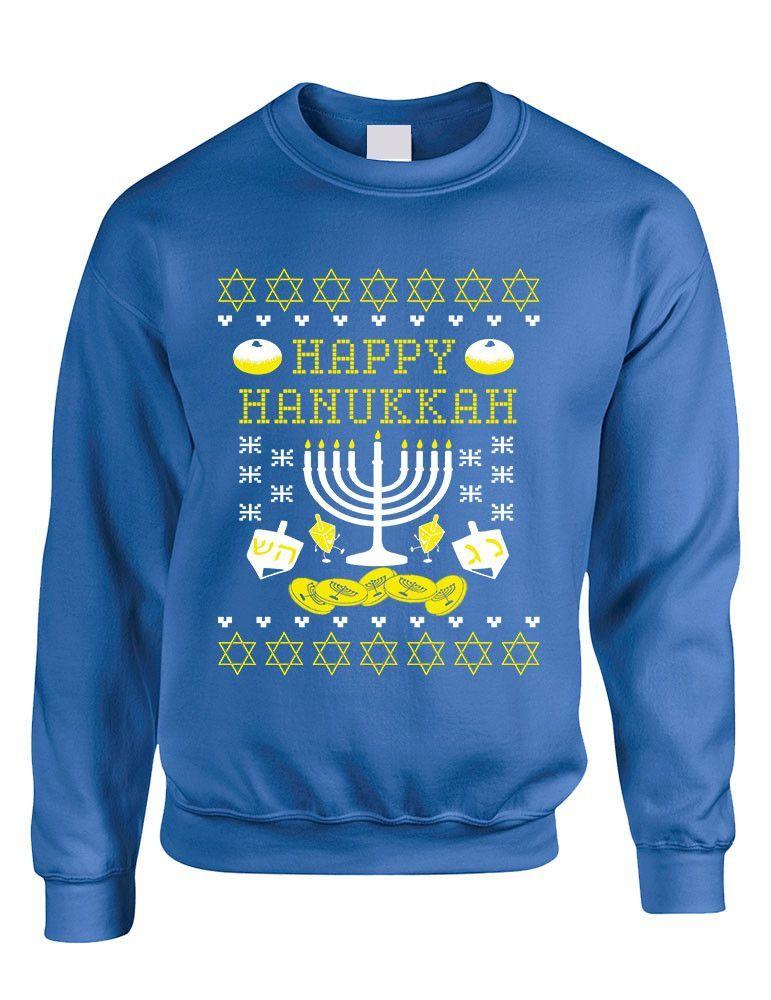 Jewish Christmas Sweater.Adult Crewneck Happy Hanukkah Jewish Menorah Ugly Sweater