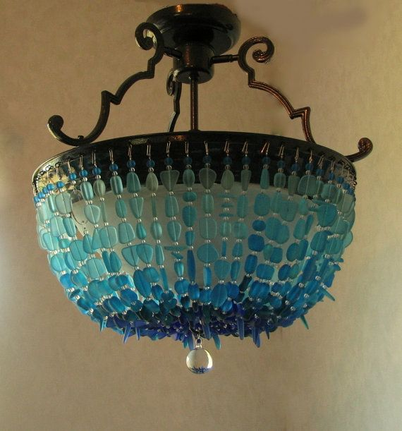 Sea Glass Chandelier Lighting Blue Ombre Coastal Decor Beach Glass Ceiling Fixture Flush Mount Crystal Chandelier With Images Sea Glass Chandelier Glass Chandelier Bathroom Chandelier