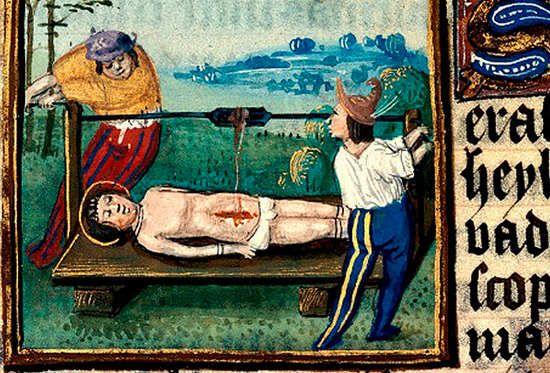 Martyre de saint Erasme. 15th century. Besancon BM ms 0155, Flanders.