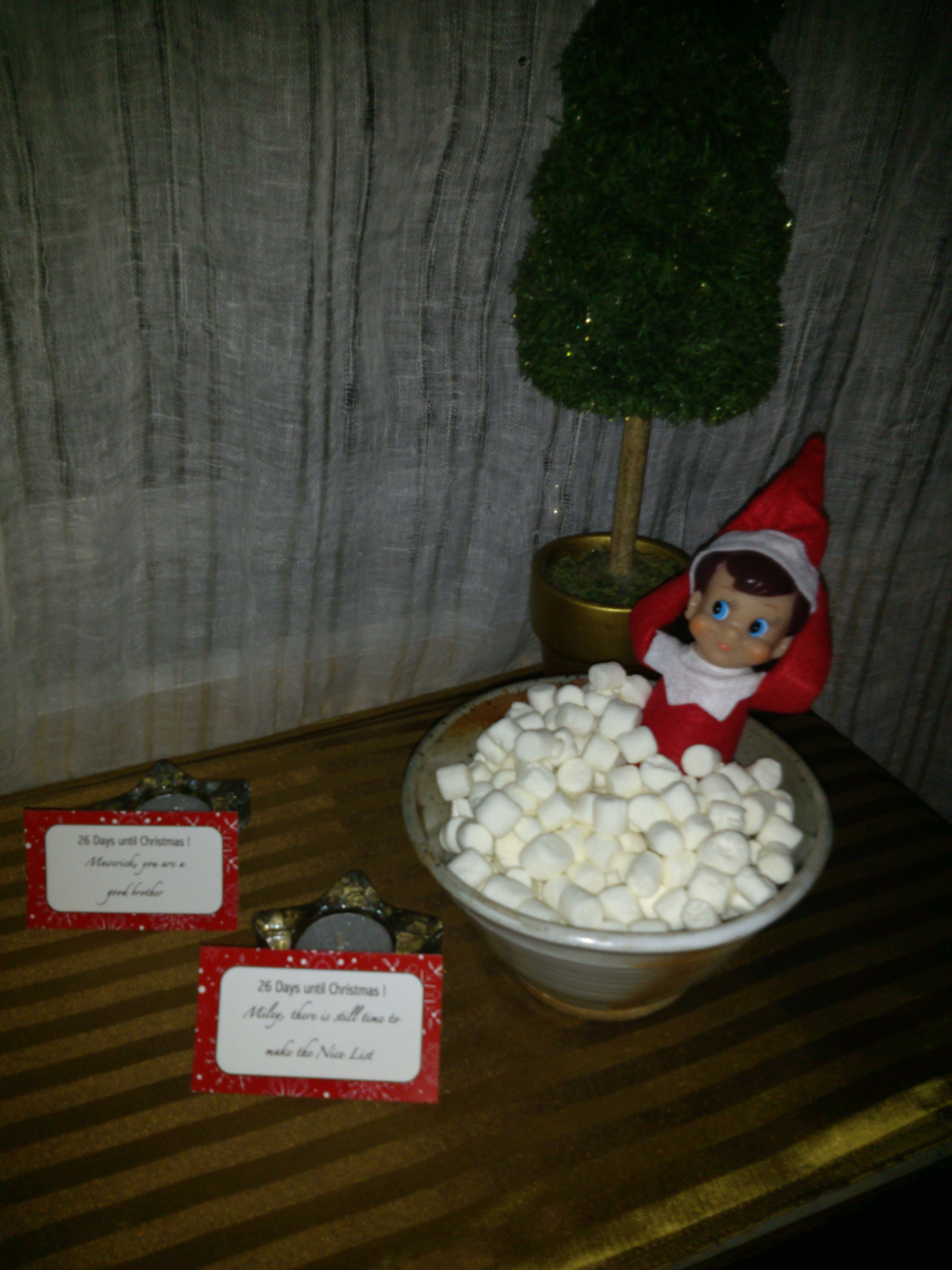 Elf In The Hot Tub Full Of Mini Marshmallows Relaxing And