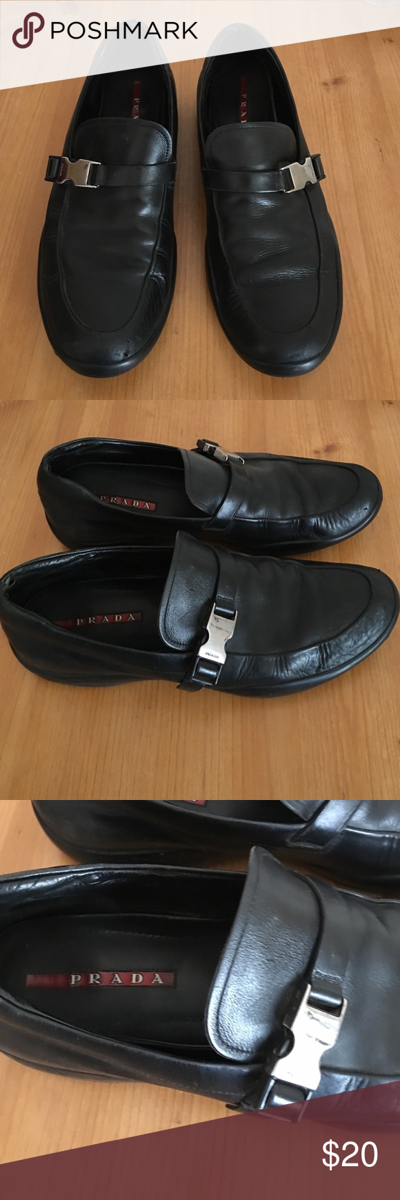 a596bf5addb PRADA MENS BLACK BUCKLE LEATHER LOAFERS 8 M PREOWNED WORN REMOVABLE INSOLES  WHICH SHOULD BE SWITCHED