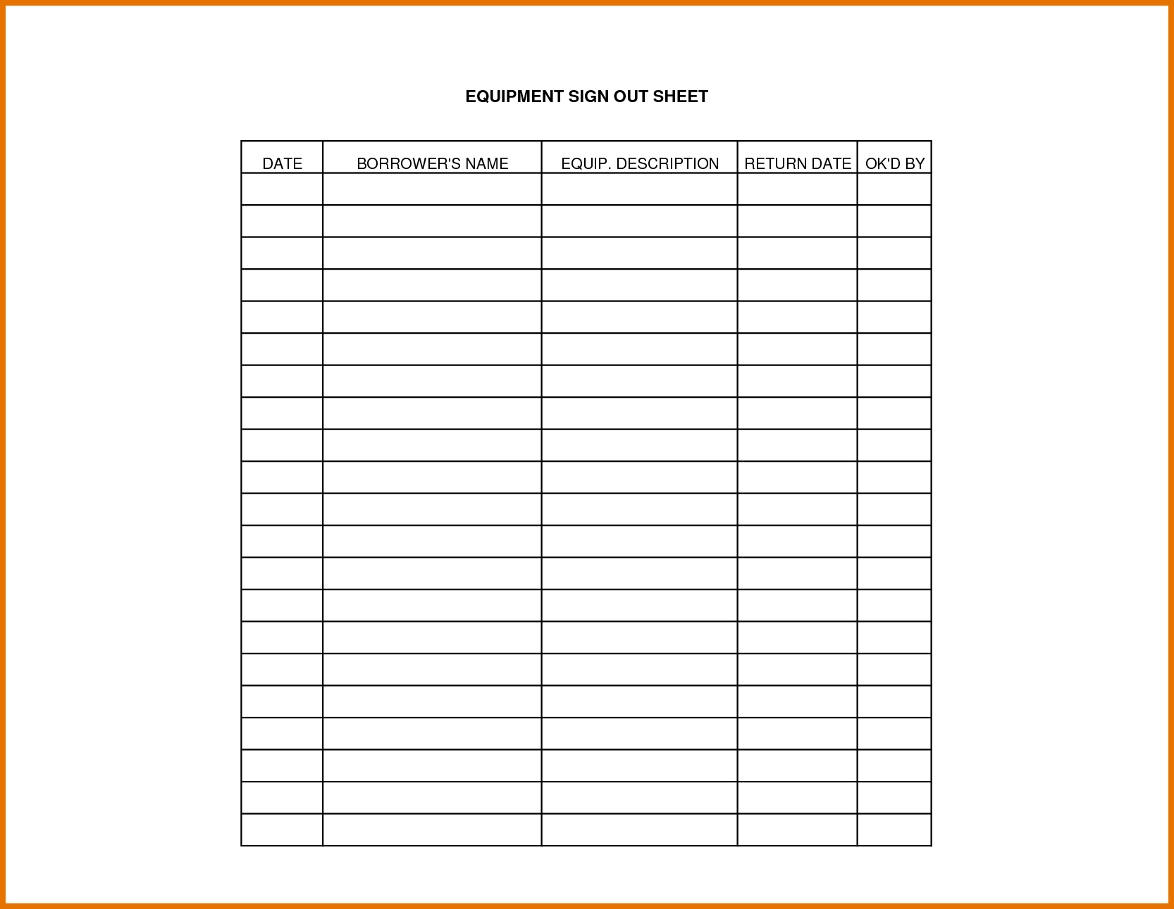 equipment sign out sheet template projects to try pinterest attendance sheet. Black Bedroom Furniture Sets. Home Design Ideas