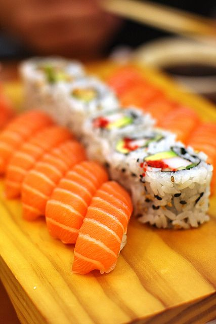 Sake nigiri and...is that shrimp (ebi), avocado and shibazuke inside the uramaki ?