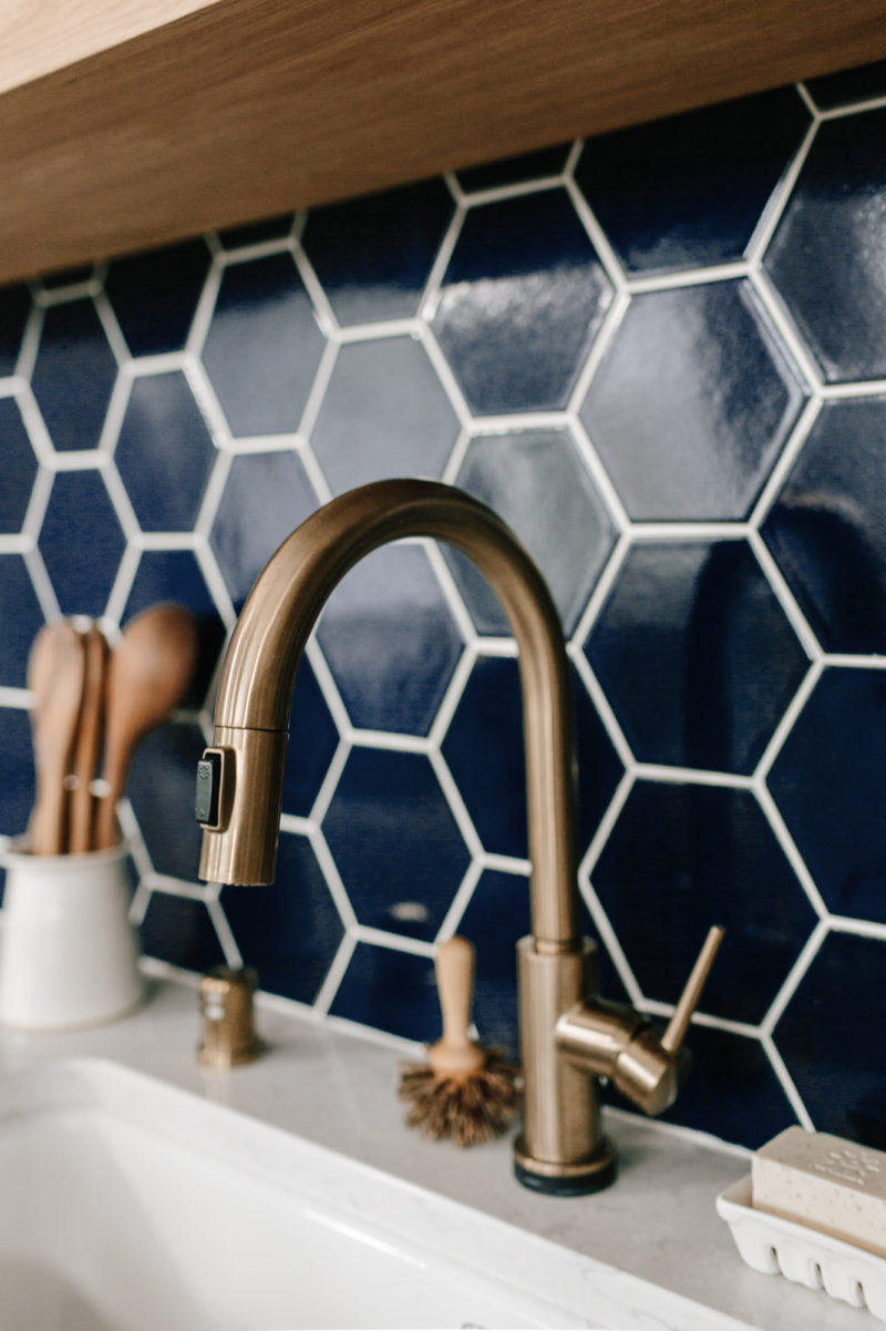 Large blue hexagonal tile kitchen backsplash (no white