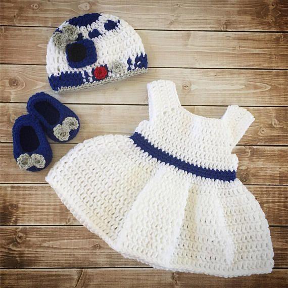 R2D2 Inspired Baby Girl Costume/ Crochet R2D2 hat/Star Wars Costume ...
