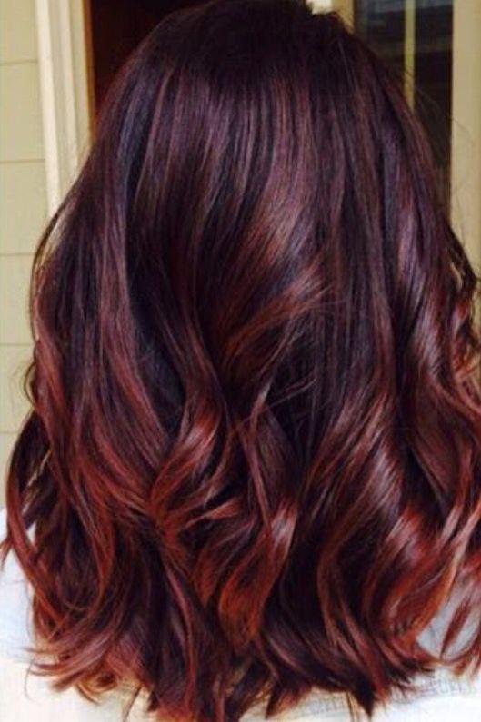 Bayalage red ombre dark hair | Hair | Pinterest | Bayalage, Red ...