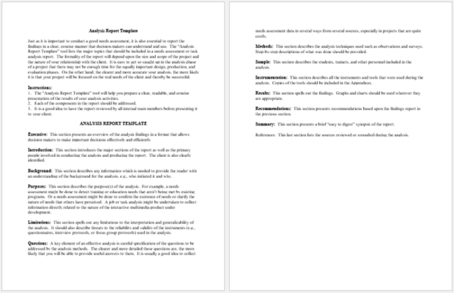 Analysis Report Format Glamorous 10 Analysis Report Templates  Free Printable Word & Pdf .