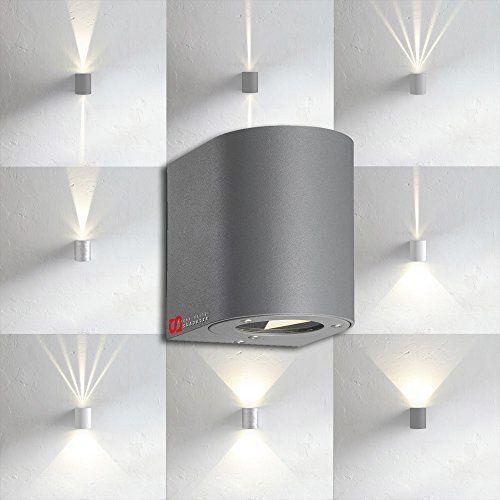LICHT-TREND LED-Wandlampe IP44 mit 8 Lichtfilter, 2x 3W, Grau ...
