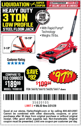 Pittsburgh Automotive 3 Ton Low Profile Steel Heavy Duty Floor Jack With Rapid Pump For 97 99 In 2020 Harbor Freight Tools Floor Jack Low Profile