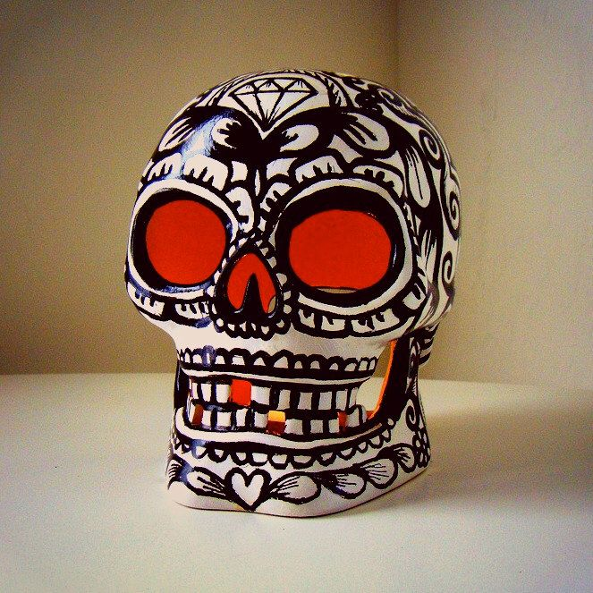 Ceramic Sugar Skull Lantern Painted Halloween Decor Black & White Day of the Dead Candle Holder Tattoo Sacred Heart Roses by sewZinski on Etsy https://www.etsy.com/listing/108189961/ceramic-sugar-skull-lantern-painted
