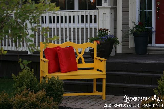 An old headboard and footboard turned into a bench. loving the color too!