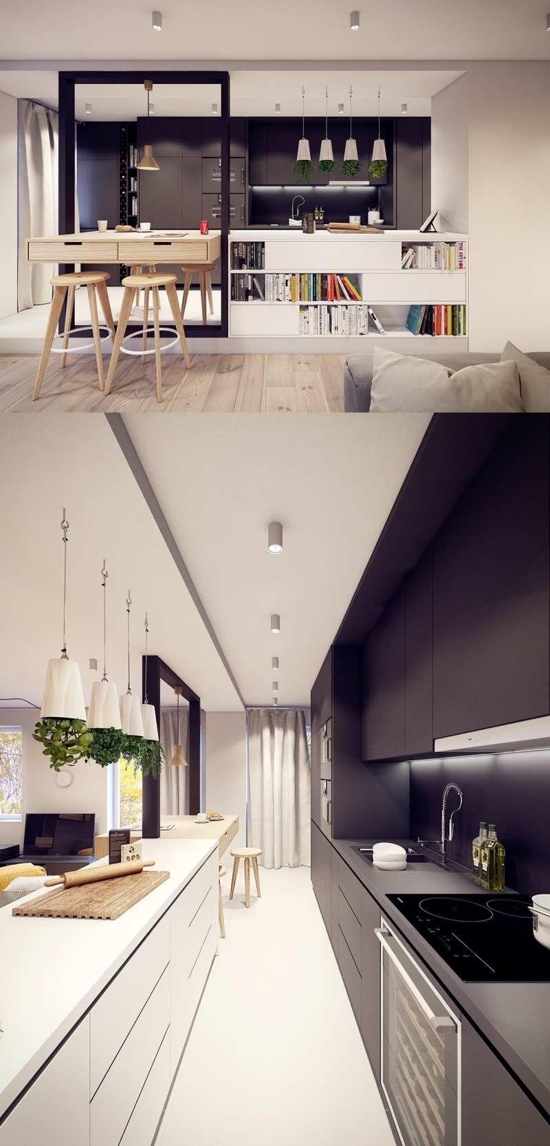 Decoration Cuisine Moderne Blanche aménagement cuisine blanche, noire et bois- 35 idées cool