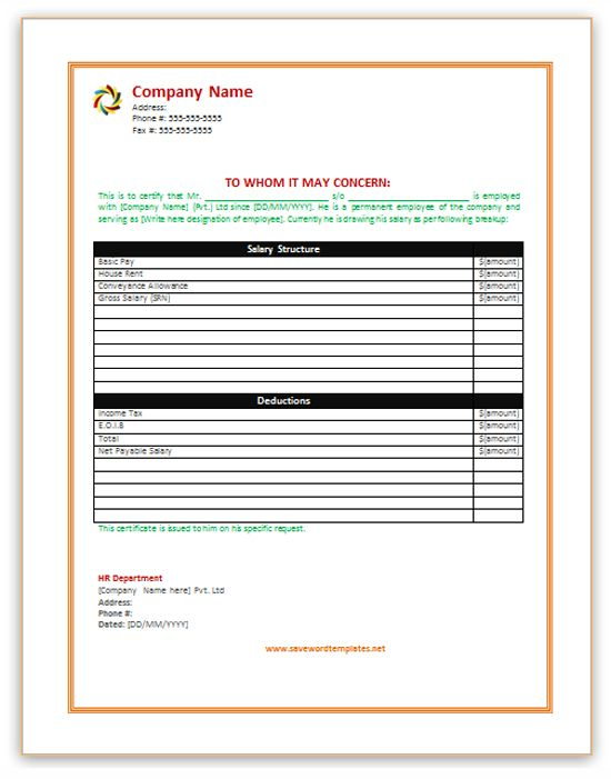 http://www.savewordtemplates.net/salary-certificate-template.html ...