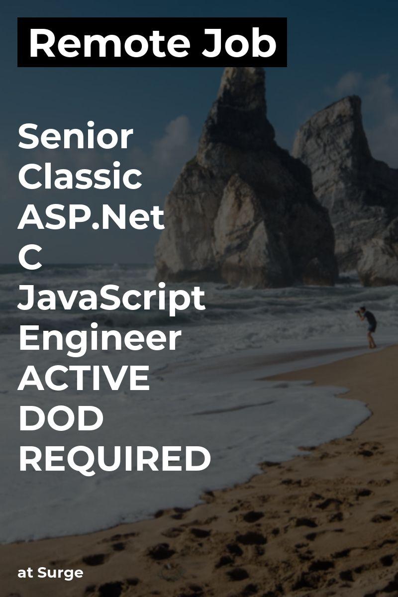Remote Senior Classic & C, JavaScript Engineer