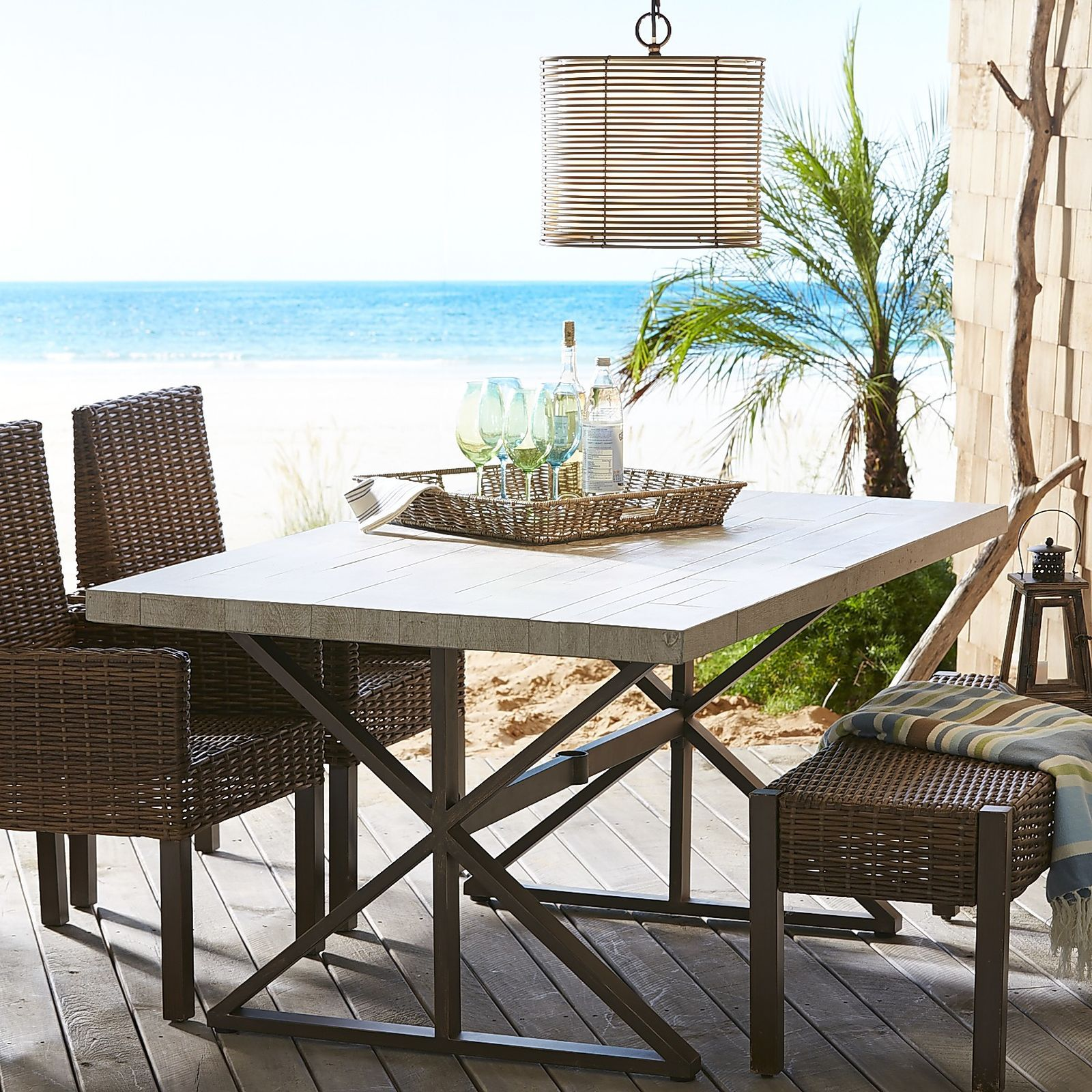 Paxson Wood Grain Tile Dining Table