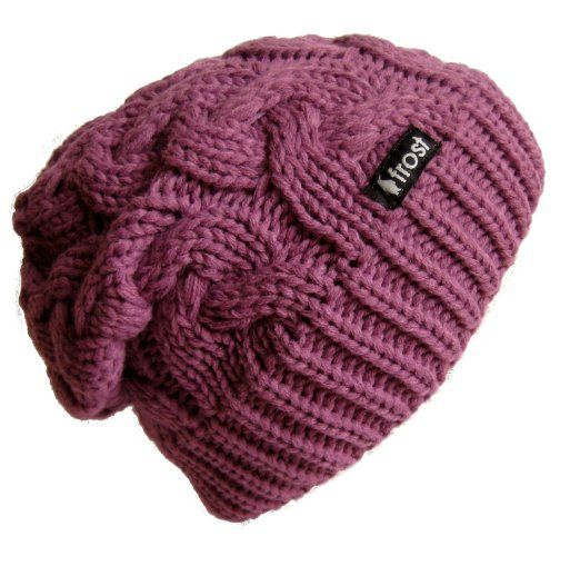 Amazon.com  Frost Hats Winter Hat for Women PURPLE Slouchy Beanie Cable Hat  Knitted Winter Hat Frost Hats One Size Purple  Clothing  96c99d25e320
